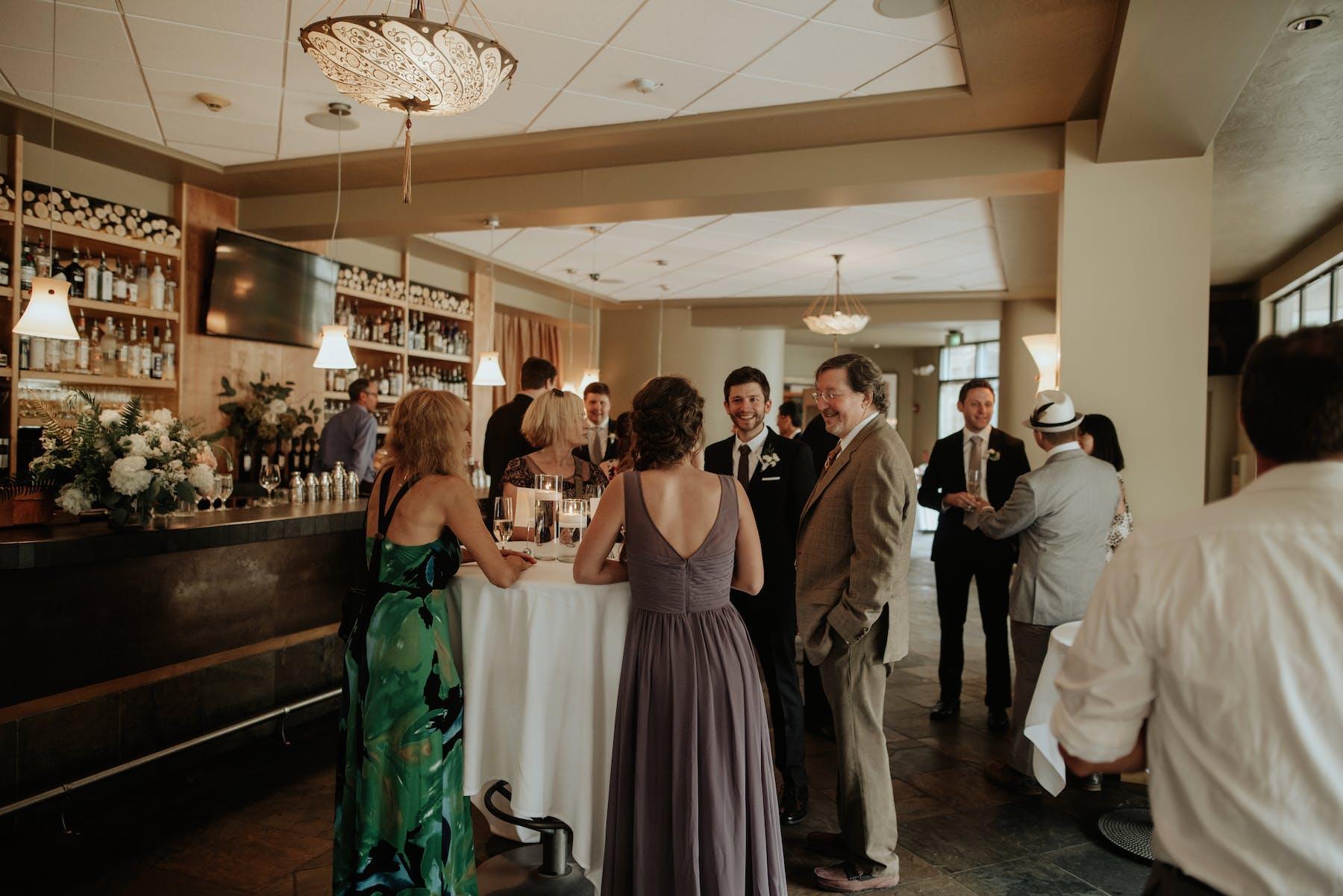 Larkspur Wedding Venue Vail Colorado Mountain Patio Outdoors Bar Cocktail Reception