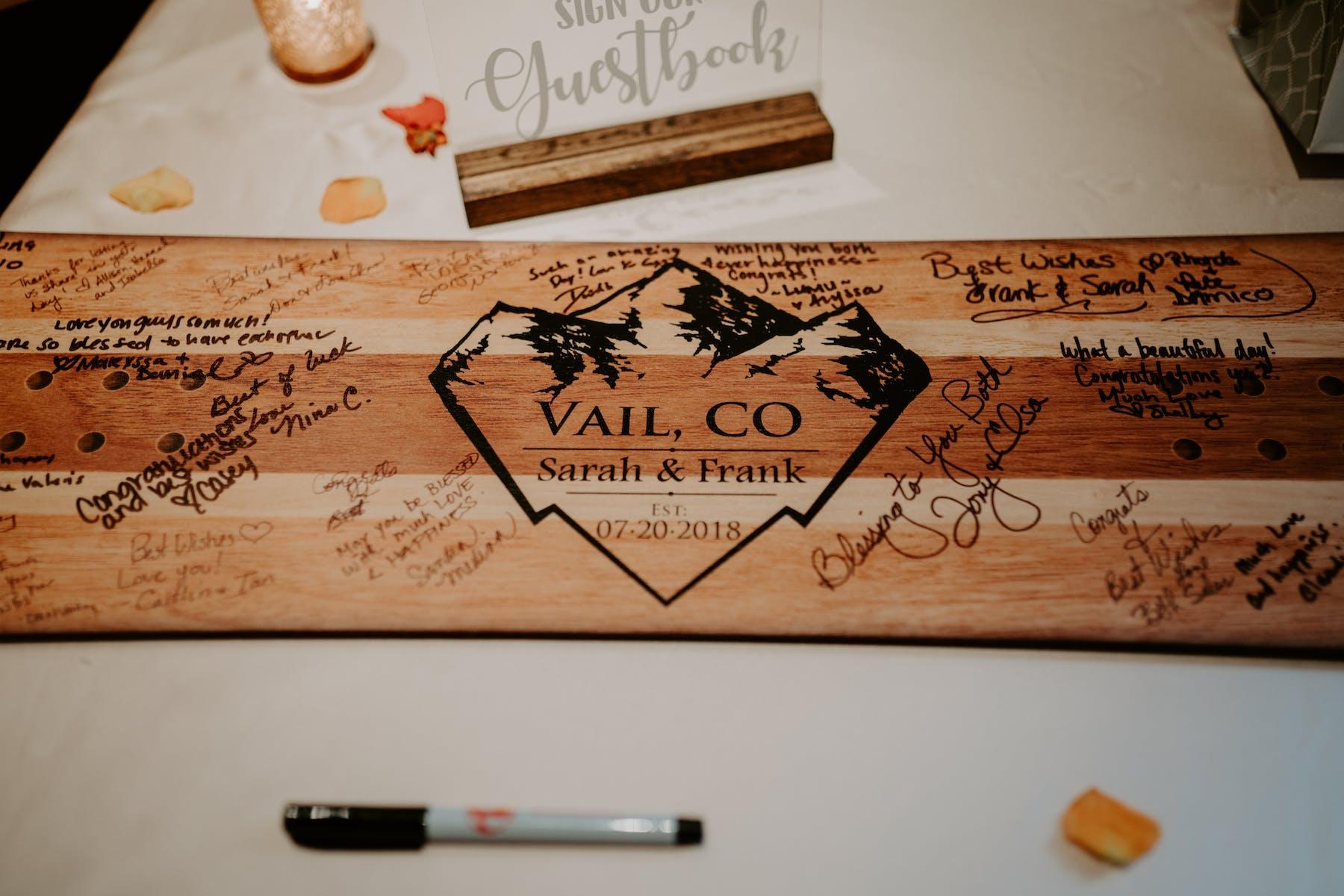Larkspur Wedding Venue Vail Colorado Mountain Patio Bar Guest Book