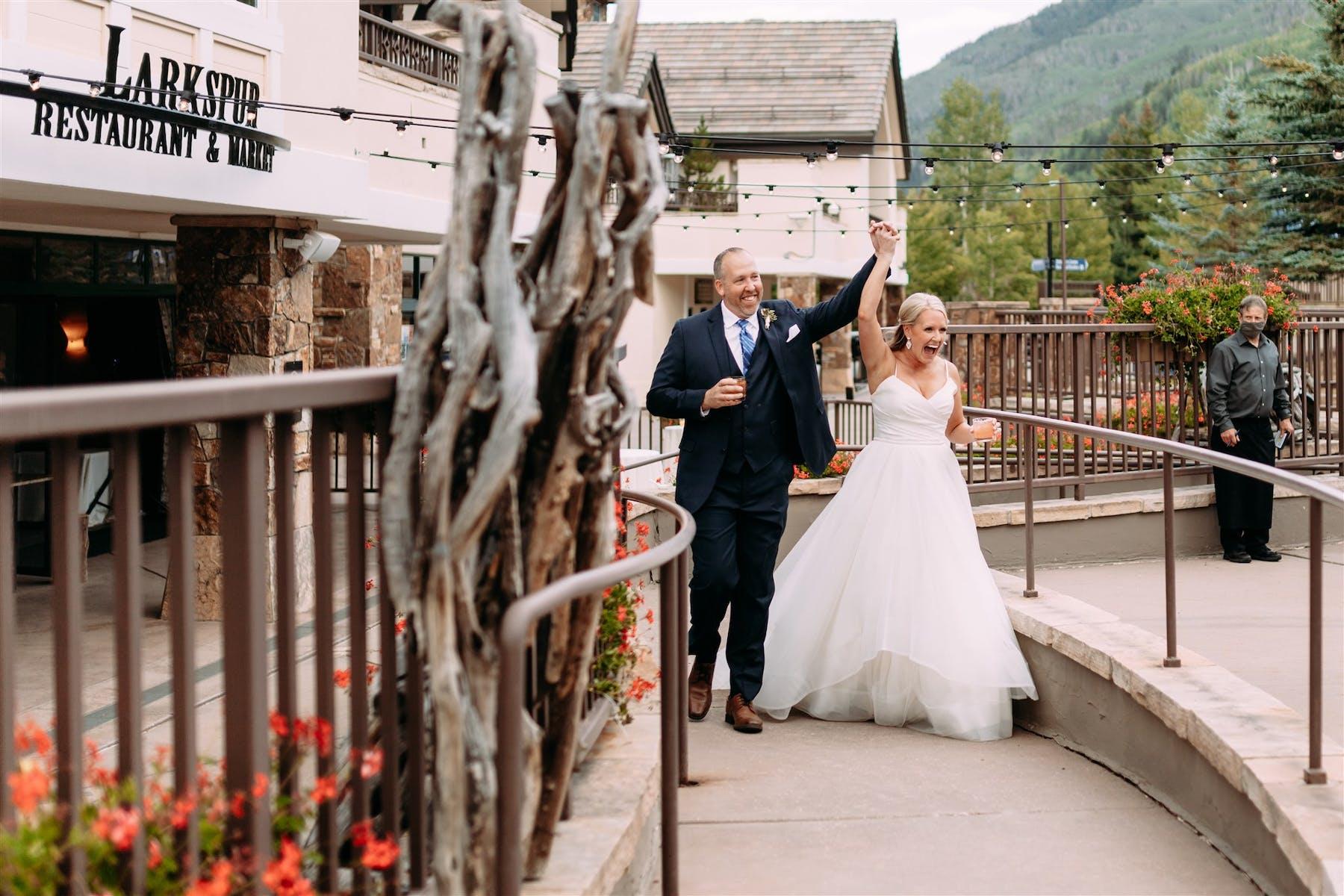 Larkspur Wedding Venue Vail Colorado Mountain Wedding Bride and Groom Introduction