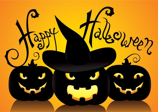 a black and orange halloween illustration