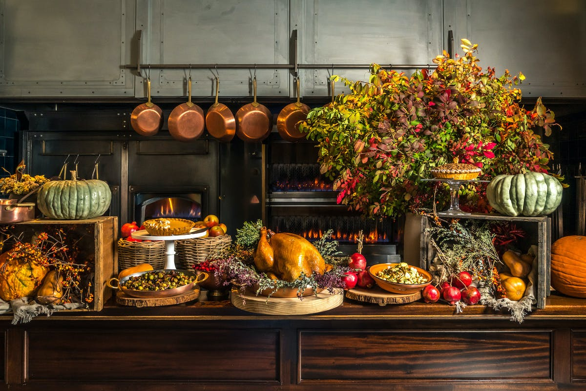 a display of thanksgiving dishes