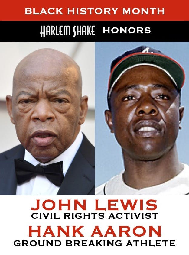 John Lewis, Hank Aaron are posing for a picture