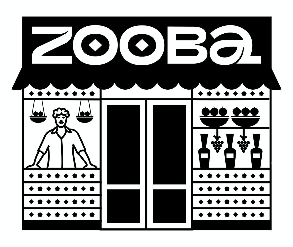 drawing of a man on a Zooba restaurant