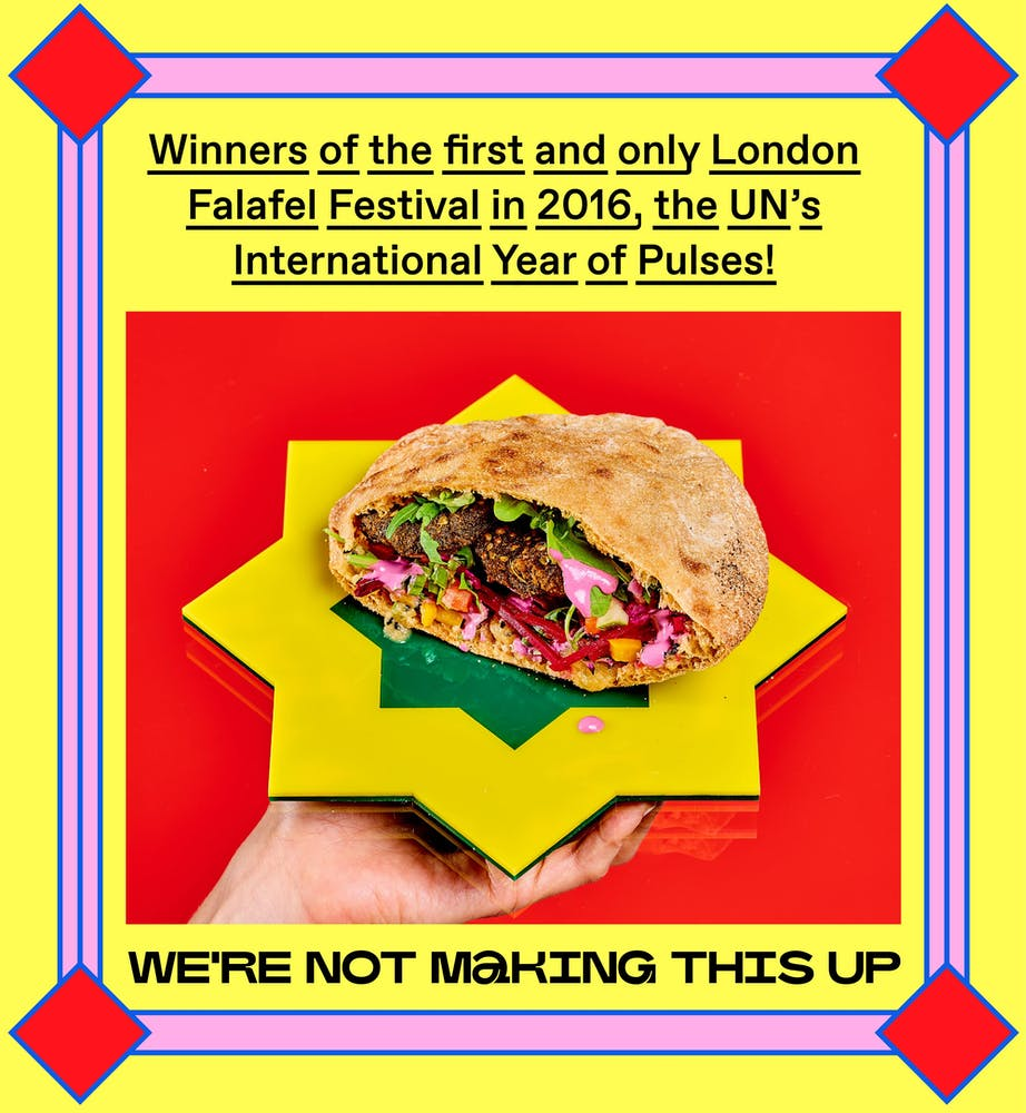 a flyer of the Falafel Festival in 2016, the UN's International Year of pulses with an image of a kebab