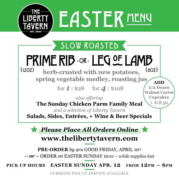 The Liberty Tavern Easter Menu