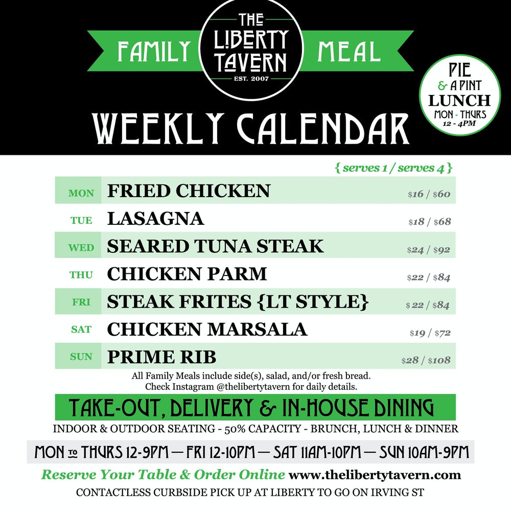 Liberty To Go Family Meal Weekly Calendar
