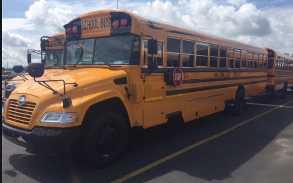a school bus parked in a parking lot