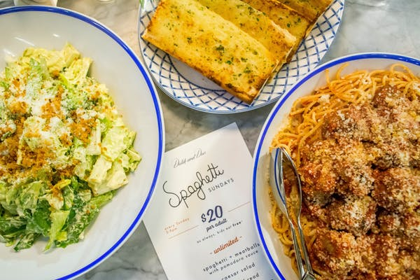 Family-style spaghetti special at family-friendly Wrigleyville restaurant and bar