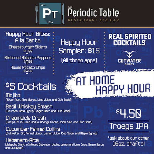 The Periodic Table Bar and Restaurant At Home Happy Hour Kits