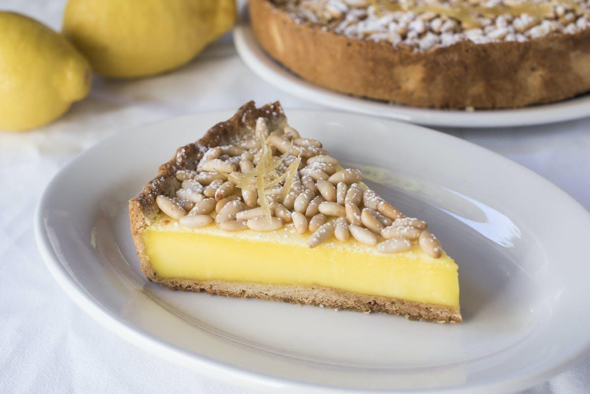Maialino's torta della nonna with lemon custard and pine nuts
