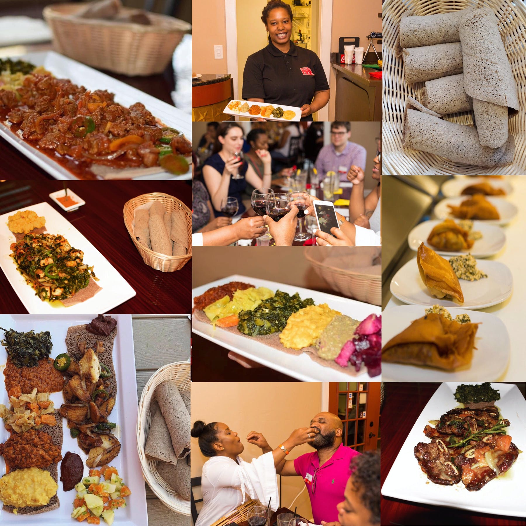 a collage of event pictures and food close ups