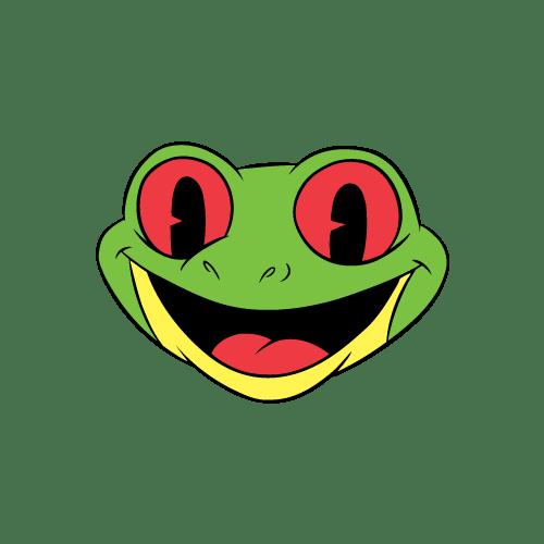 a cartoon frog's face