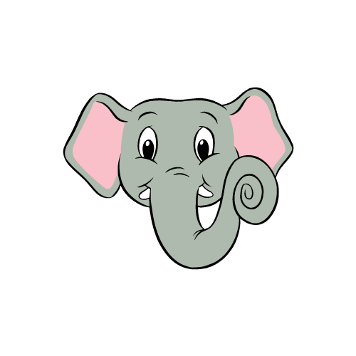 a cartoon of an elephant's face
