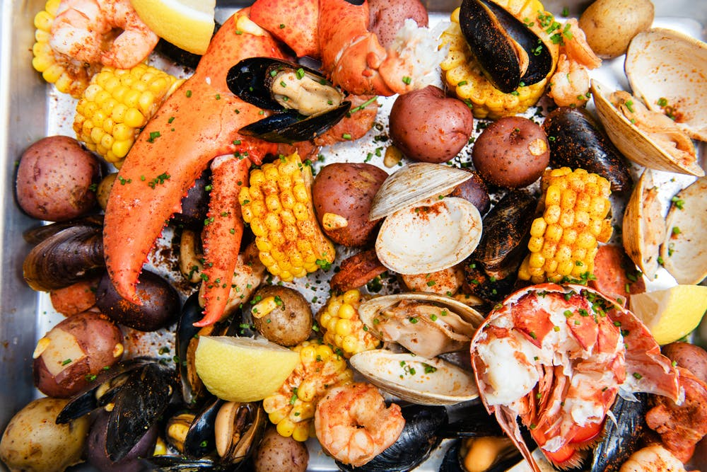 a pile of seafood and vegetables
