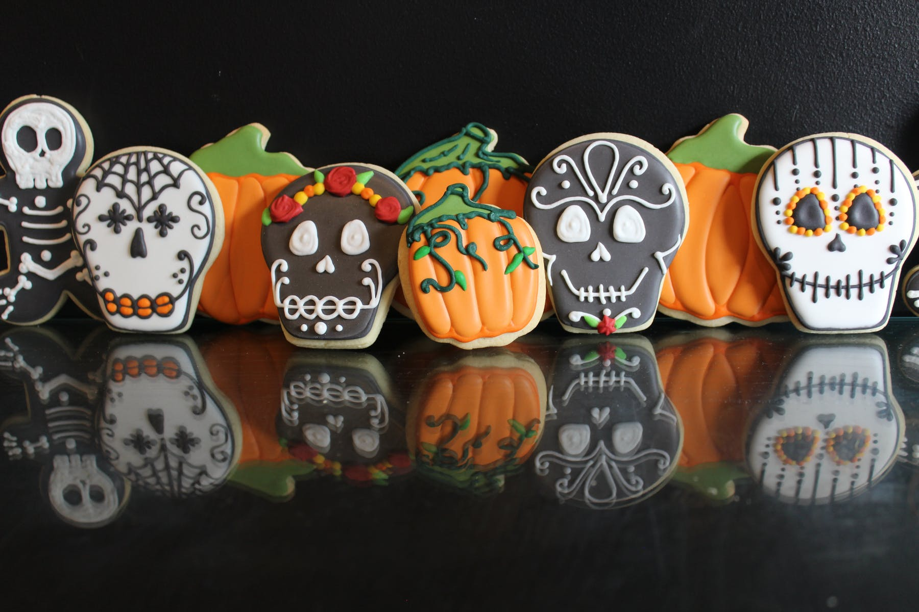 Sugar Skulls Reflection themed cookies