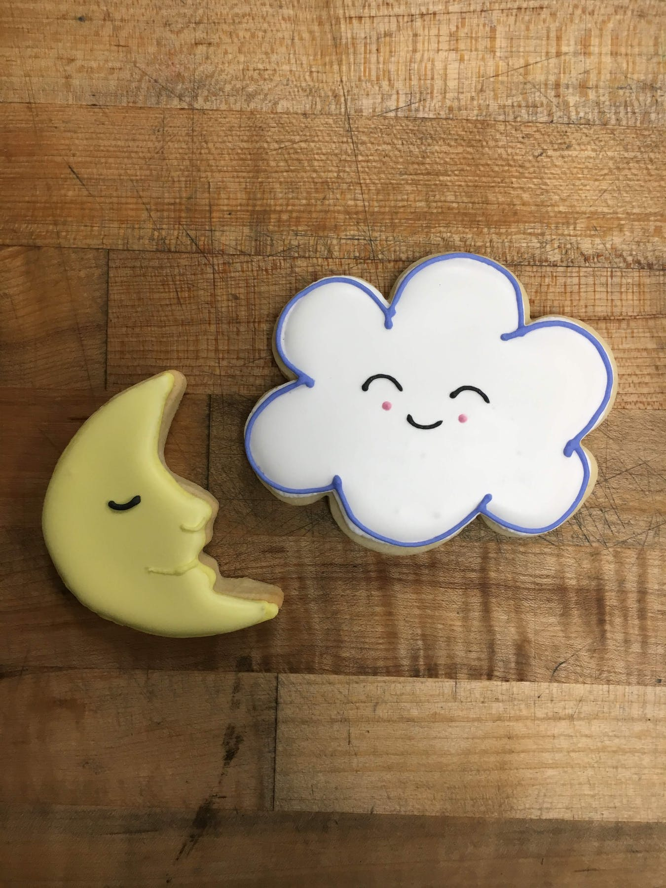 moon and cloud shaped cookies