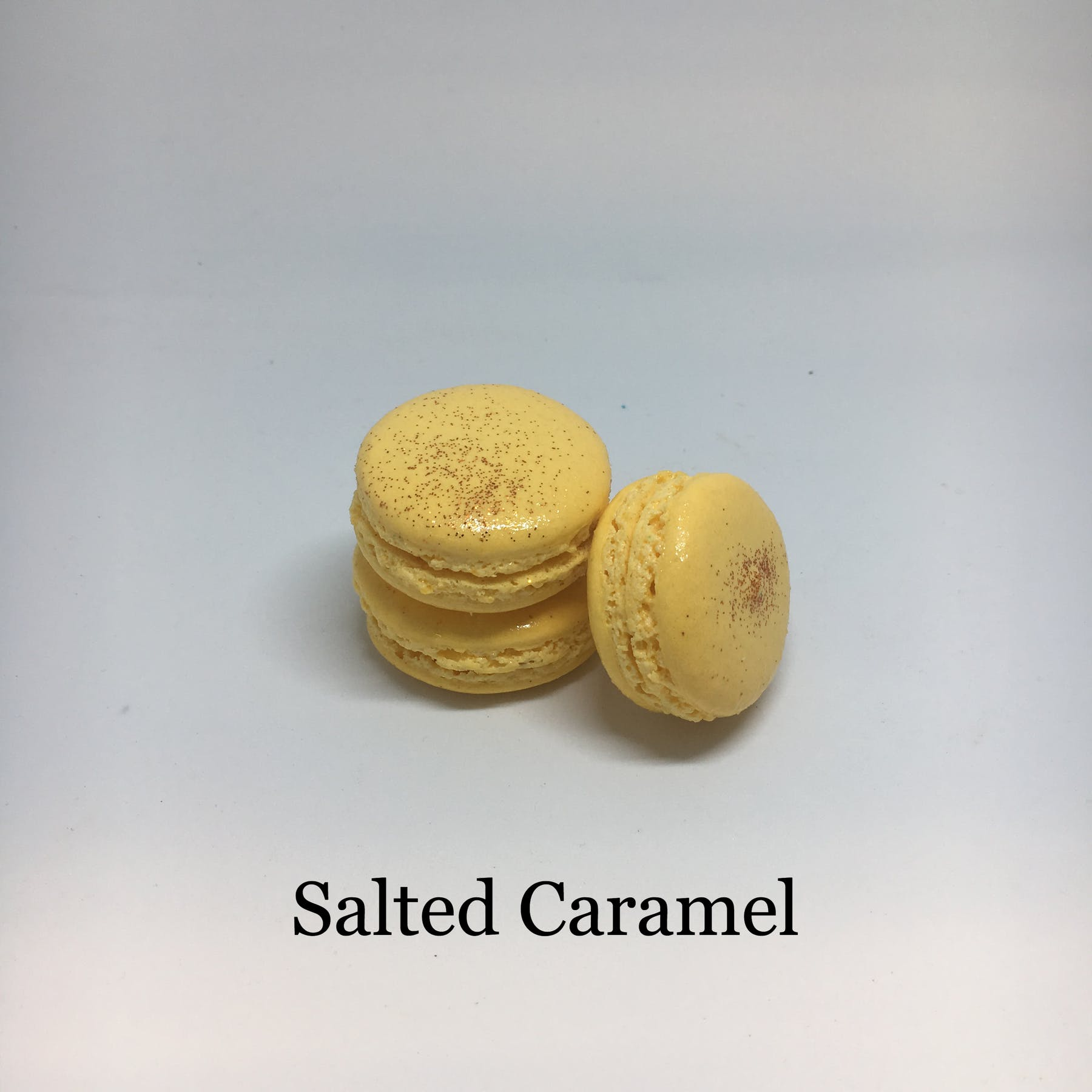 salted caramel flavored macarons