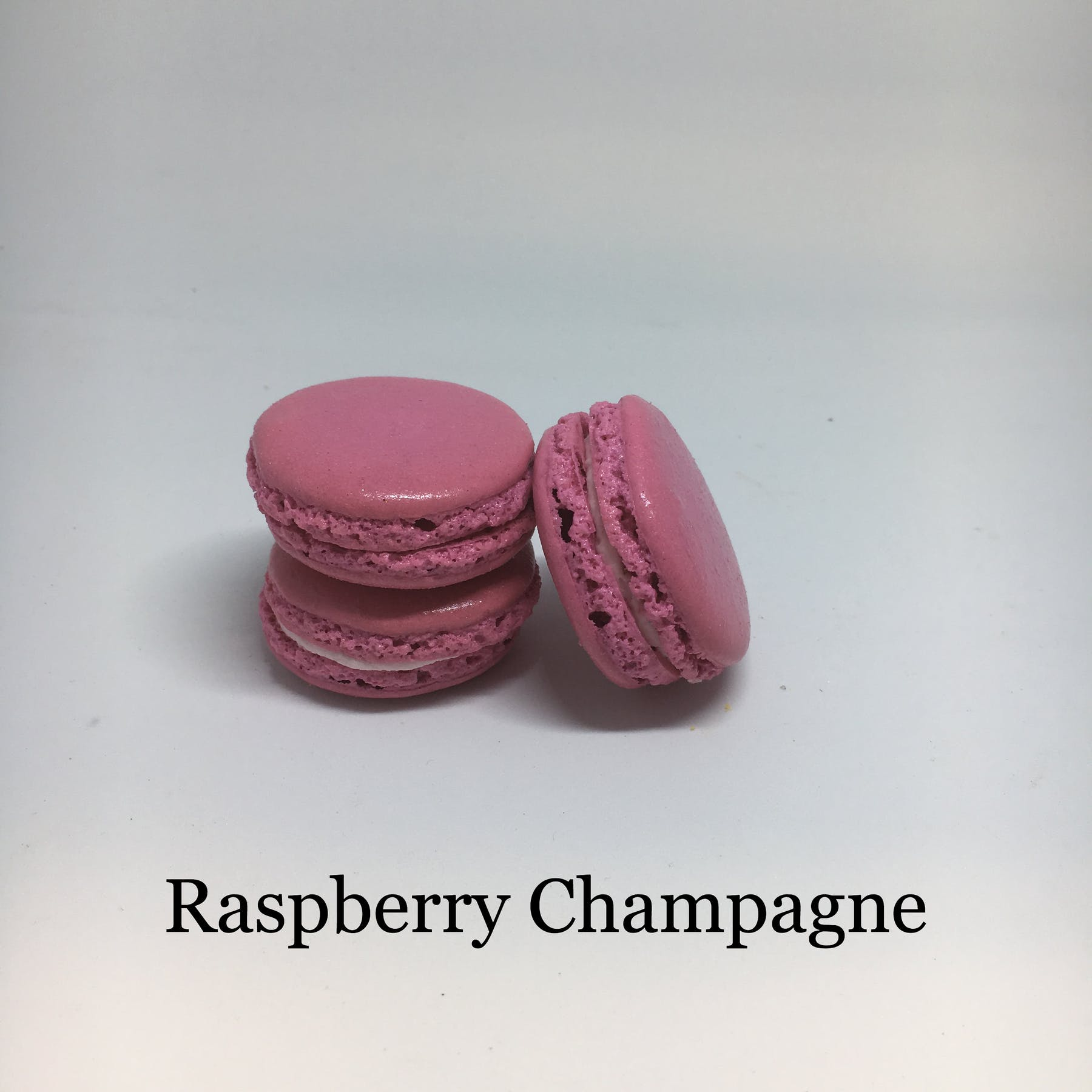 raspberry champagne flavored macarons