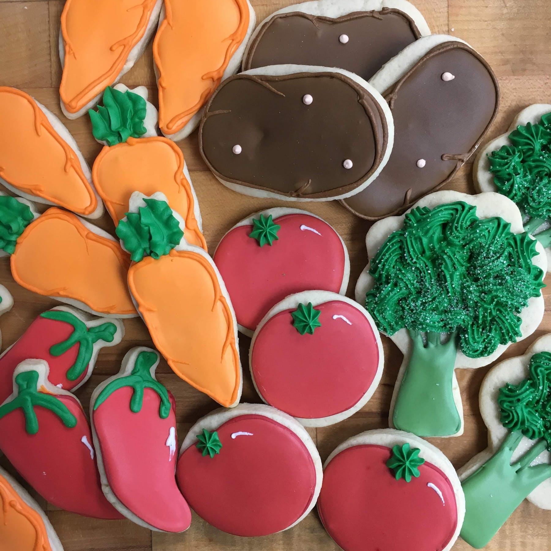 multiple veggies shaped cookies
