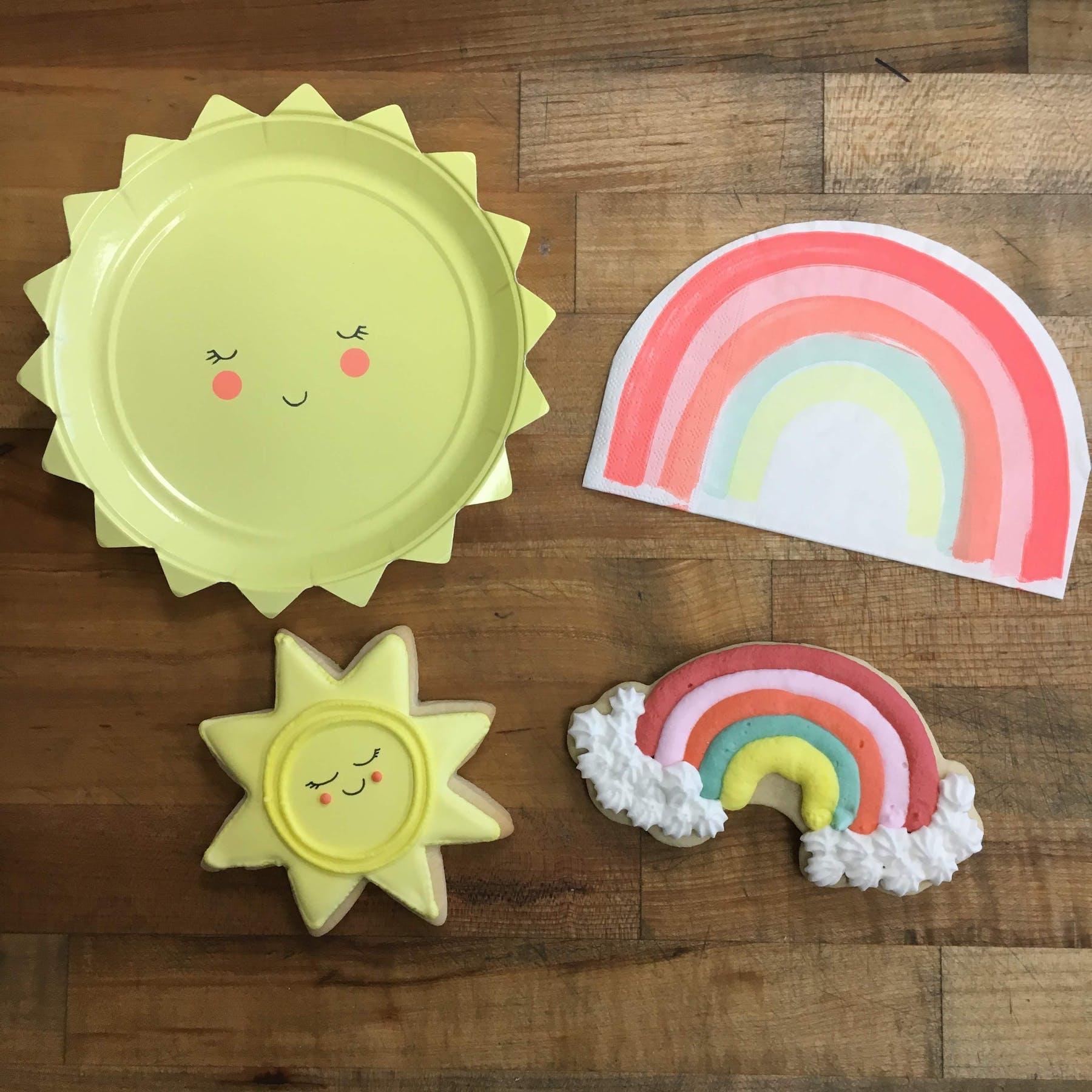 rainbow and sun shaped cookies