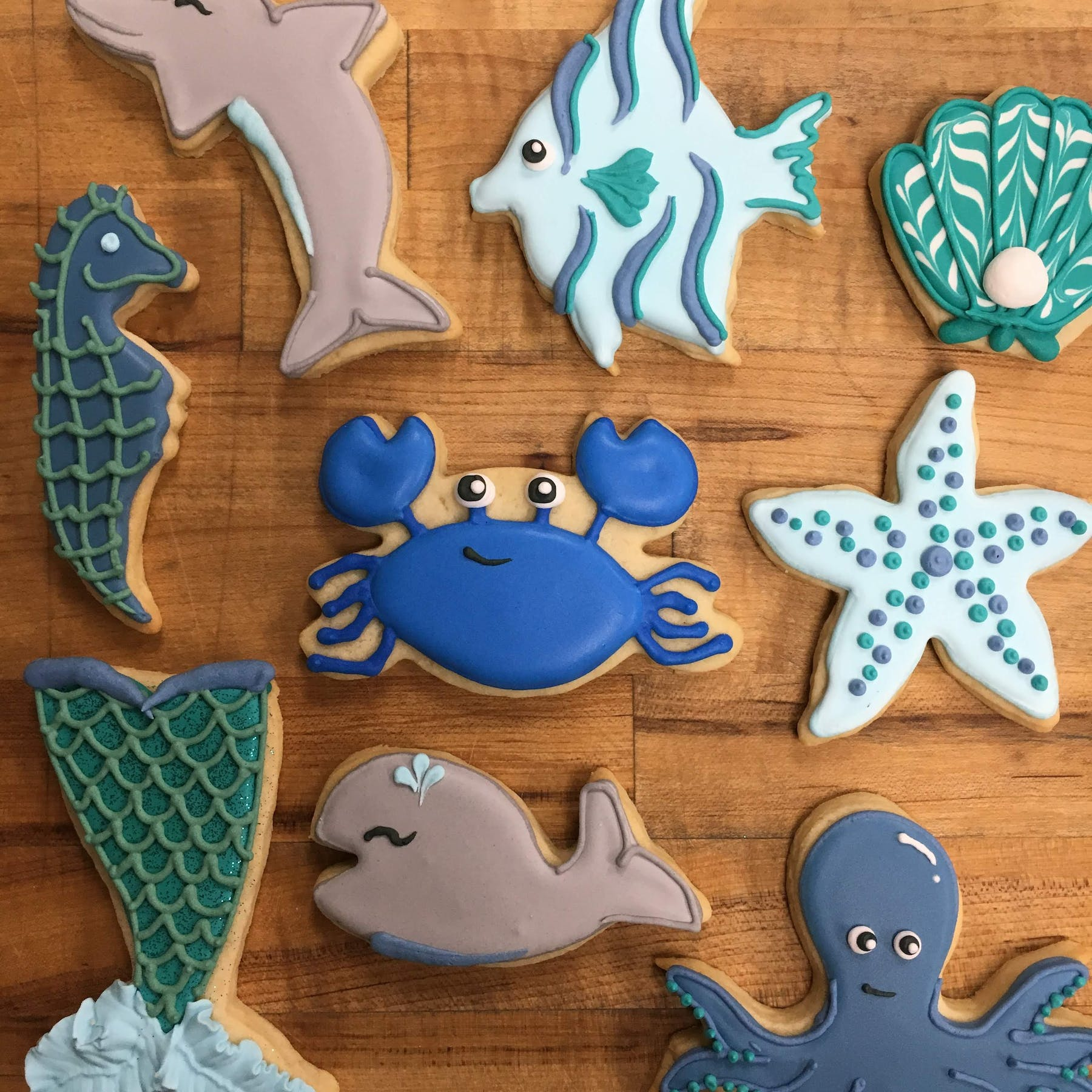 a group of sea themed cookies
