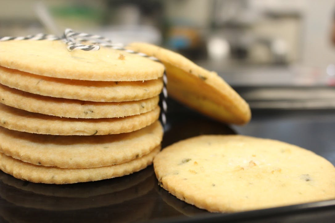 a closeup of multiple stacked cookies