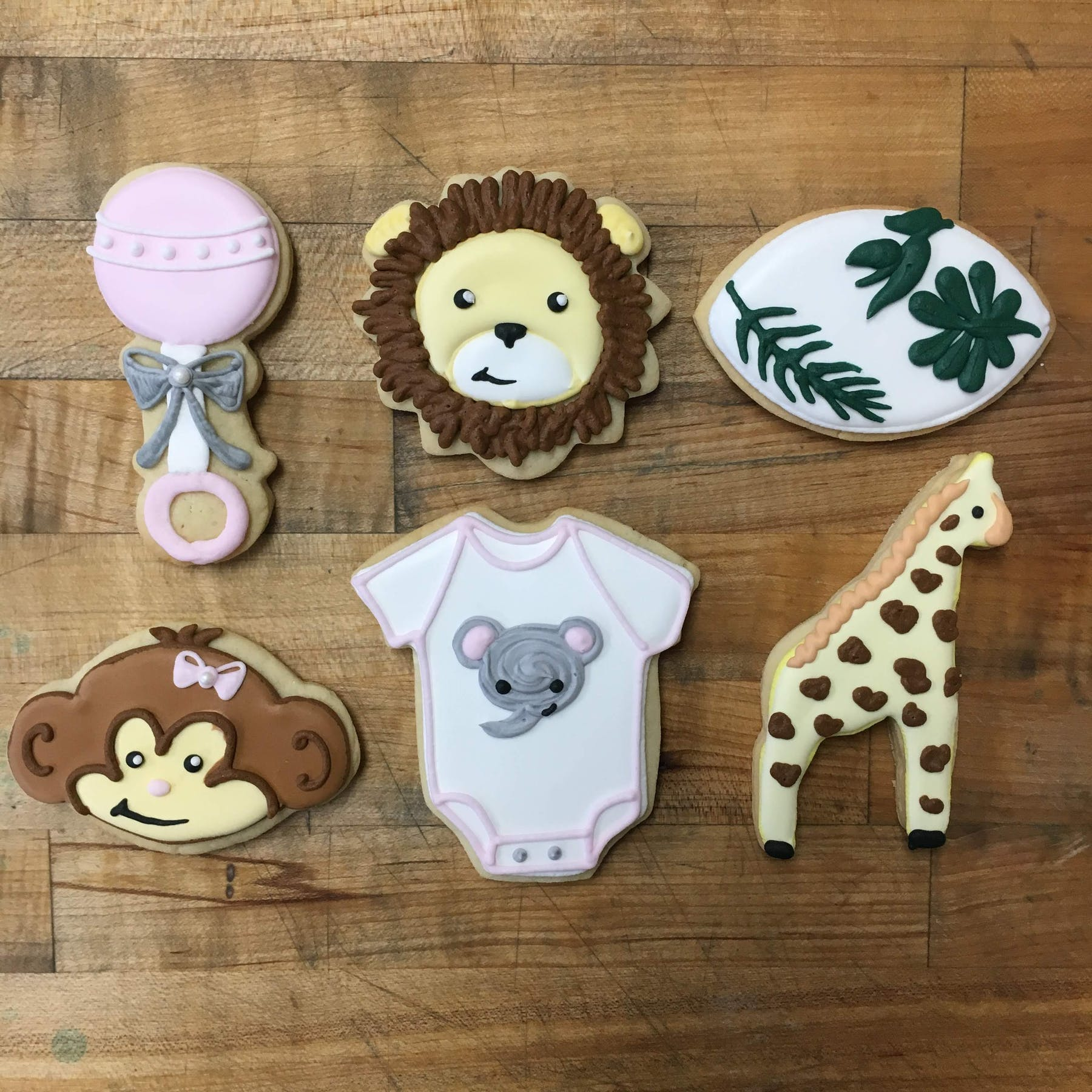 safari animal themed baby shower cookies