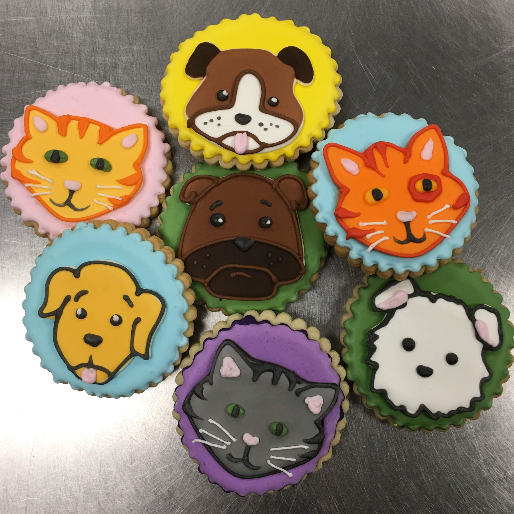 a group of cats and dogs drawn on cookies