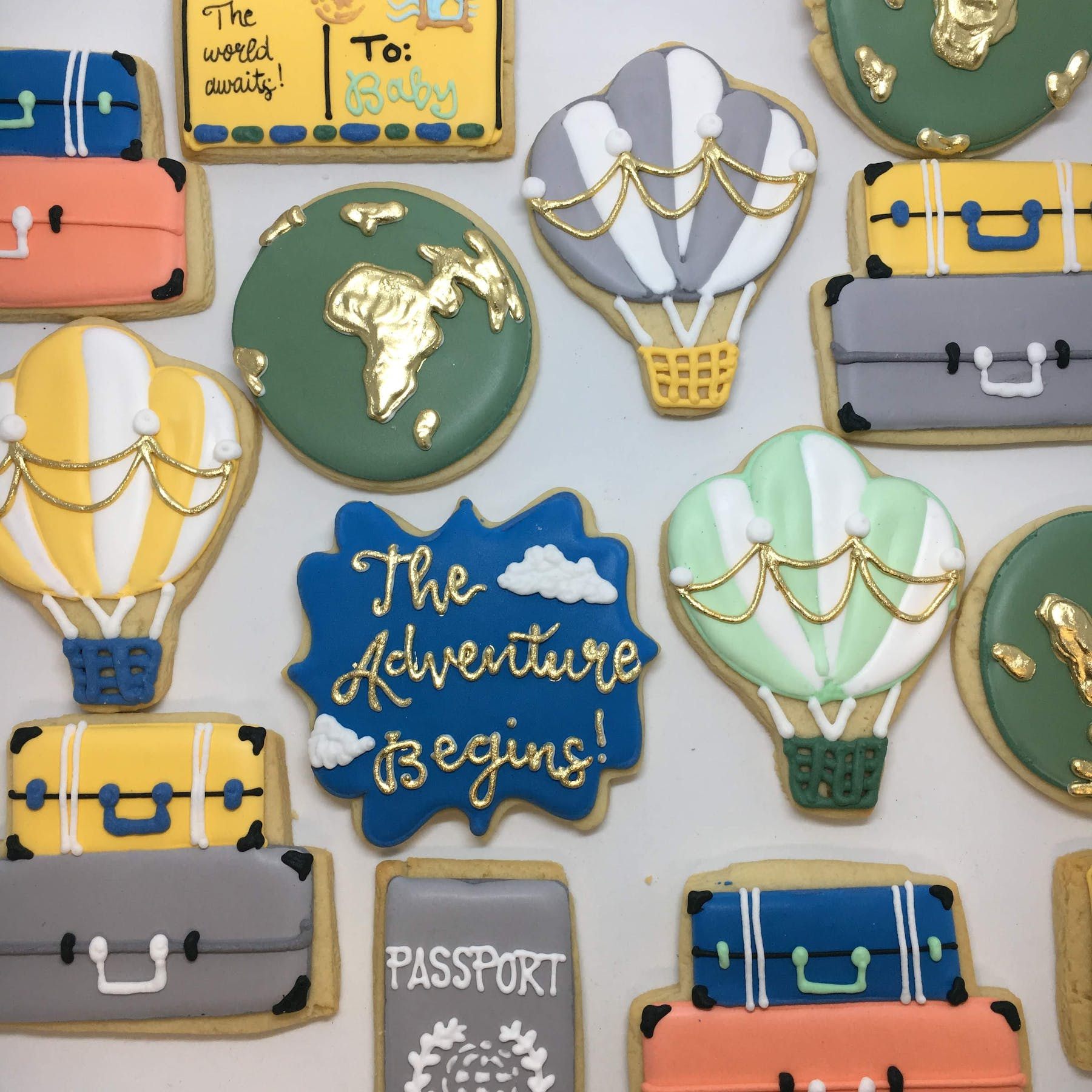 the adventure begins themed cookies