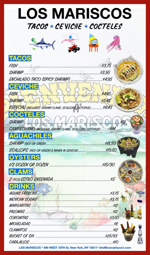 a menu with several illustrations and pictures of plates of food