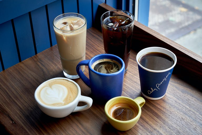 a selection of coffee drinks