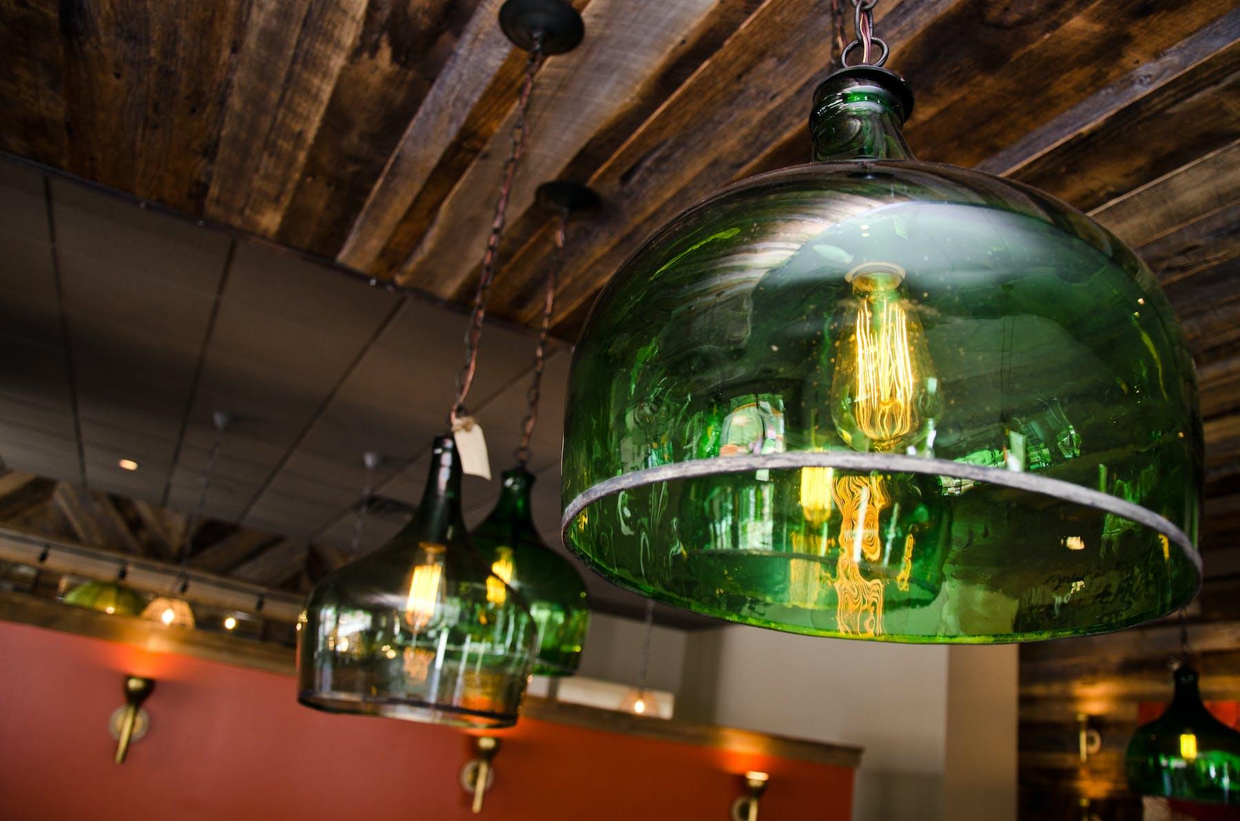 a lamp in a bar