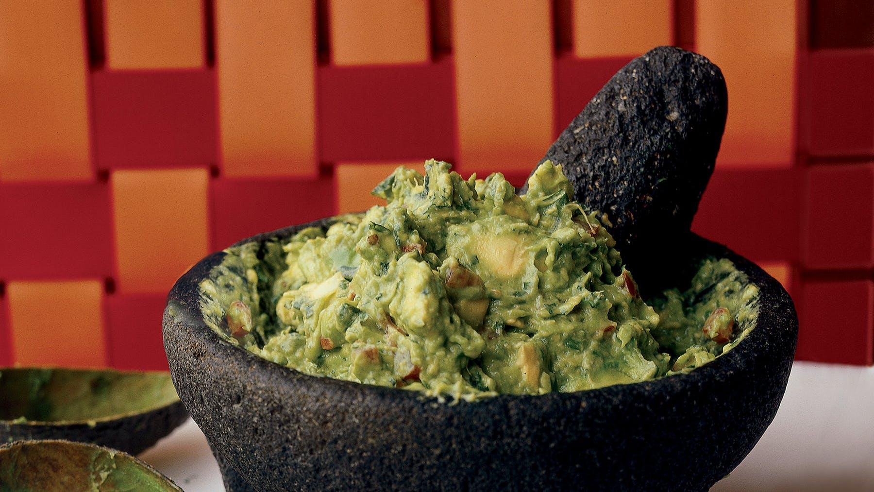 A bowl of guacamole.