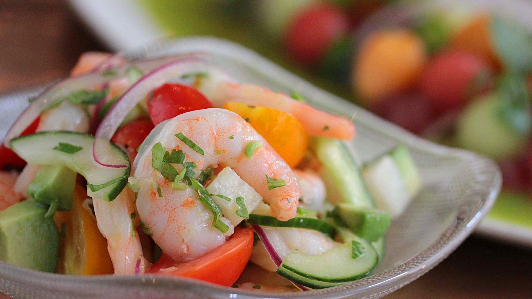 a close up of shrimp ceviche
