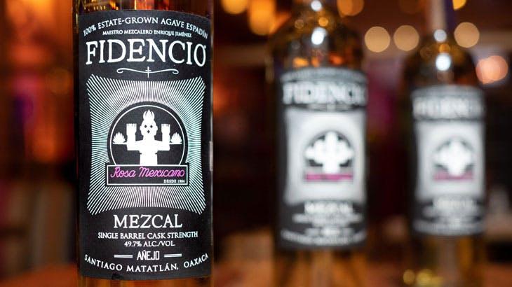 mezcal bottles on wooden table