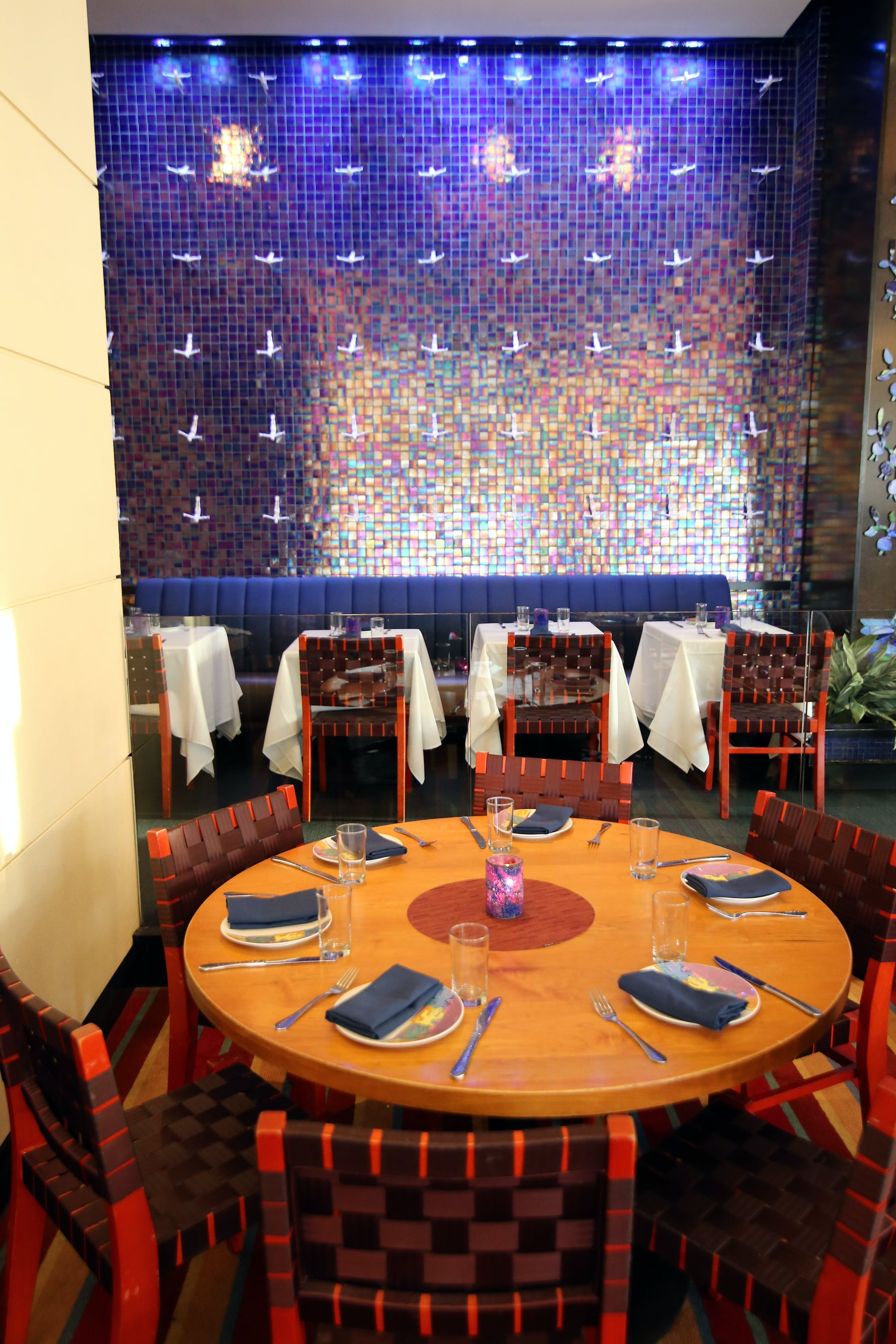 dining room with opal wall installation