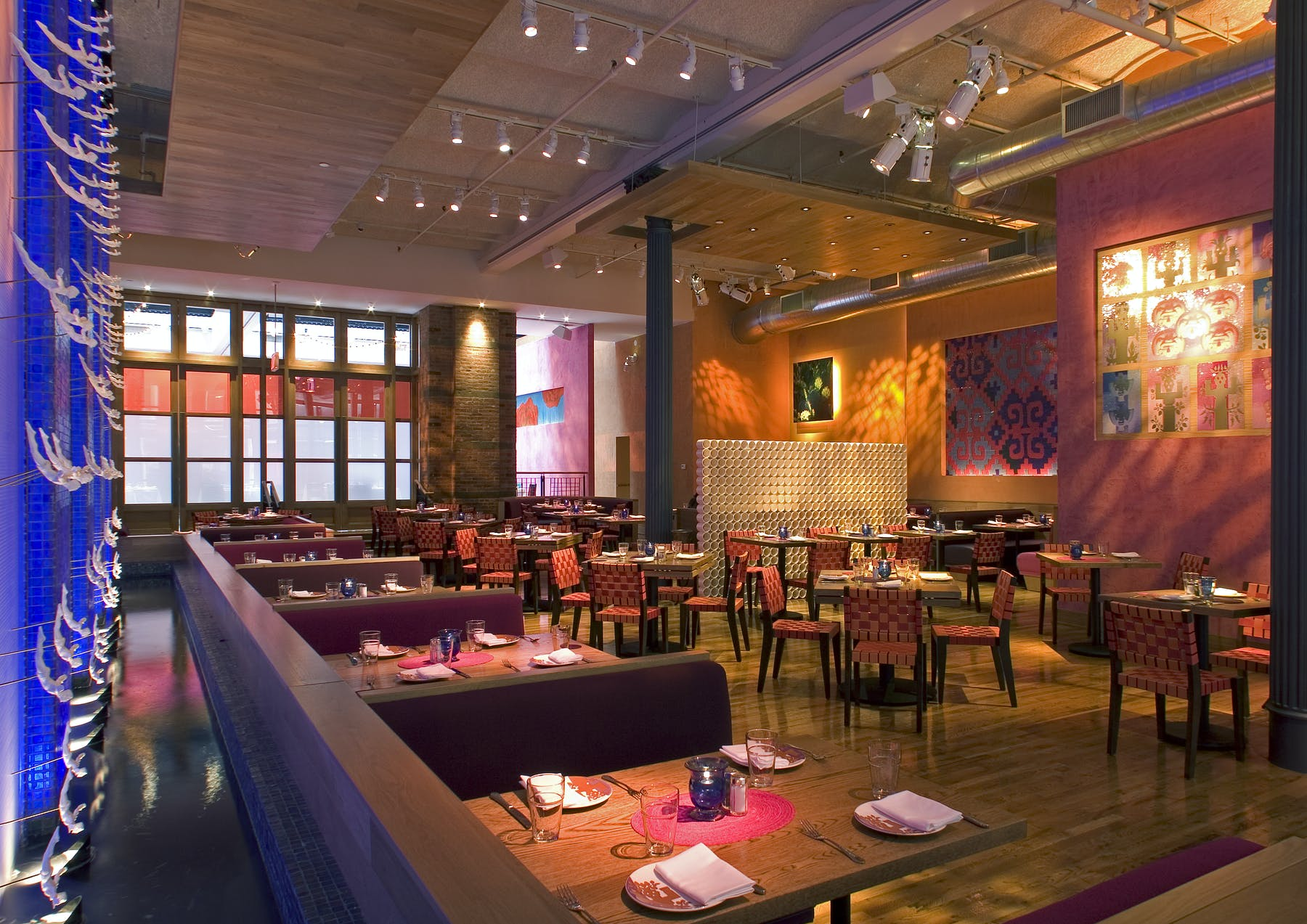 dining tables setup inside Rosa Mexicano in Union Square, NY