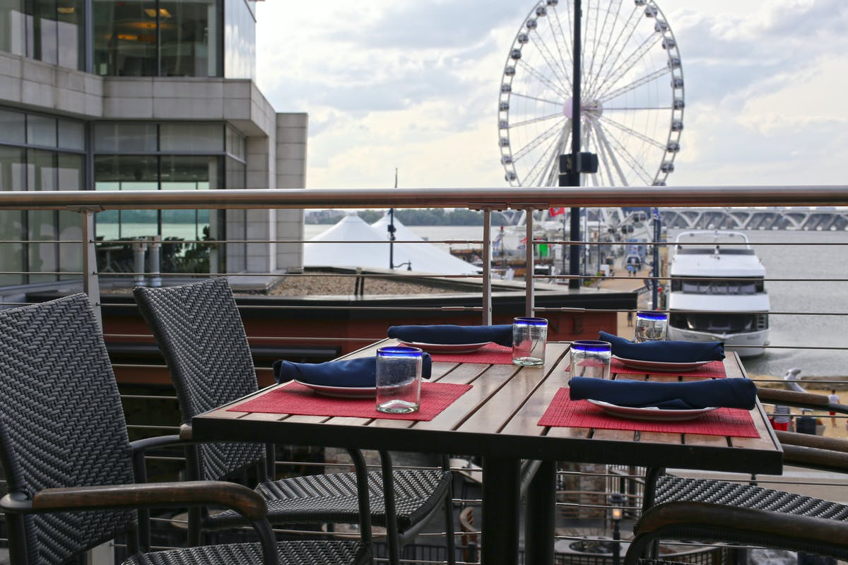 dining table at Rosa Mexicano at National Harbor, MD overlooking a ferris wheel