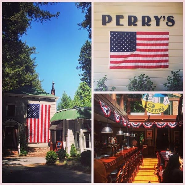 image of perrys larkspur decorated for july 4th