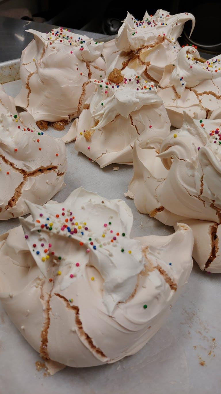 big meringues with sprinkles