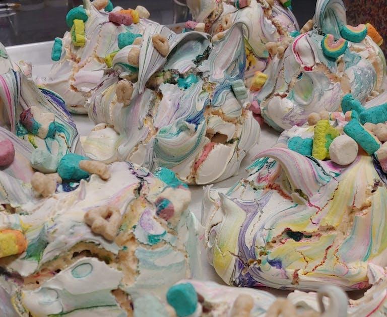 big rainbow luck charms meringues