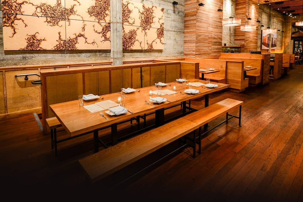a long wooden table in a room