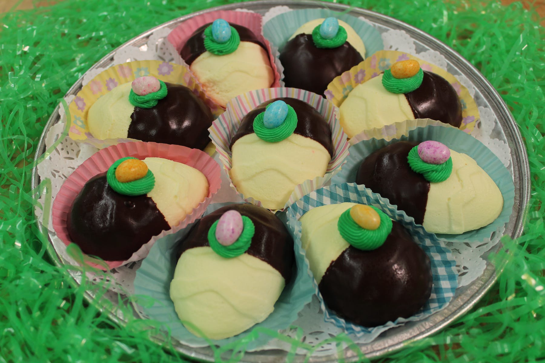 Cheesecake Easter Eggs covered in chocolate
