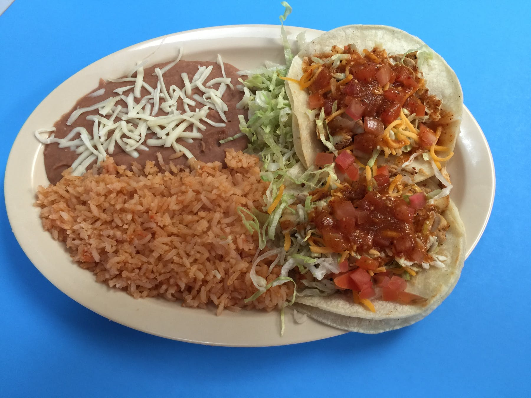 hash browns, rice, beans and tacos