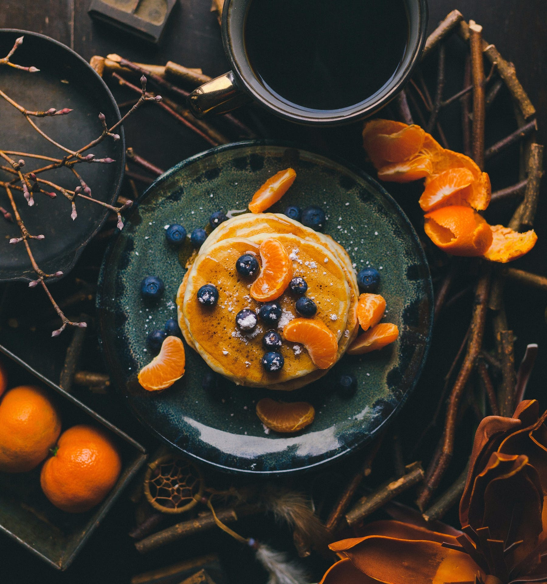 pancakes with blueberries and tangerine