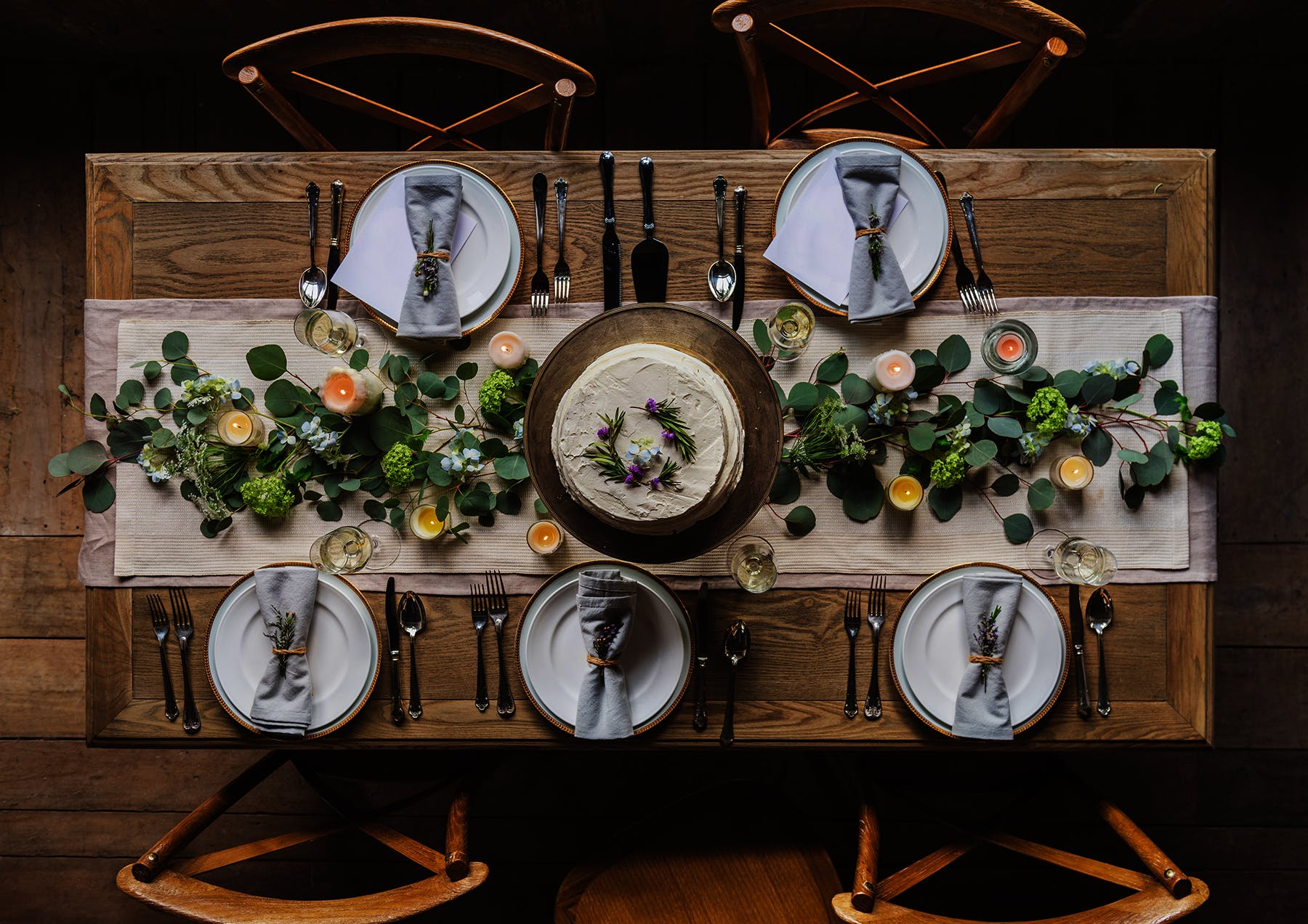 photo of dining table with plates and food