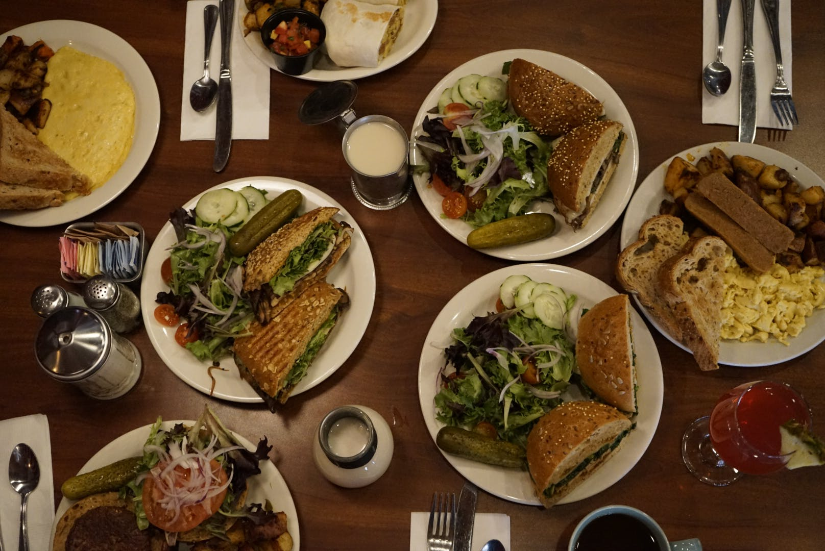 a bunch of different types of food on a plate on a table