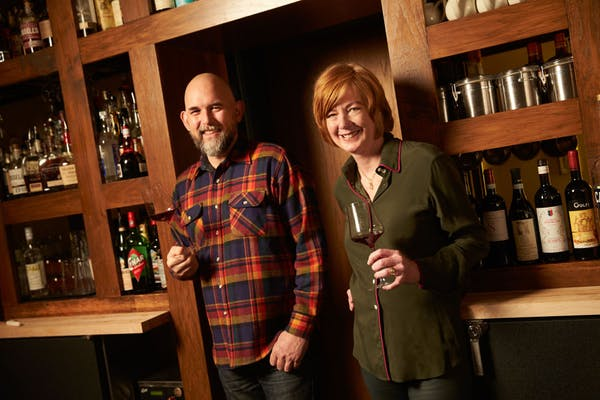 Chef Owner Cathy Whims with Wine   Spirits Director Austin Bridges