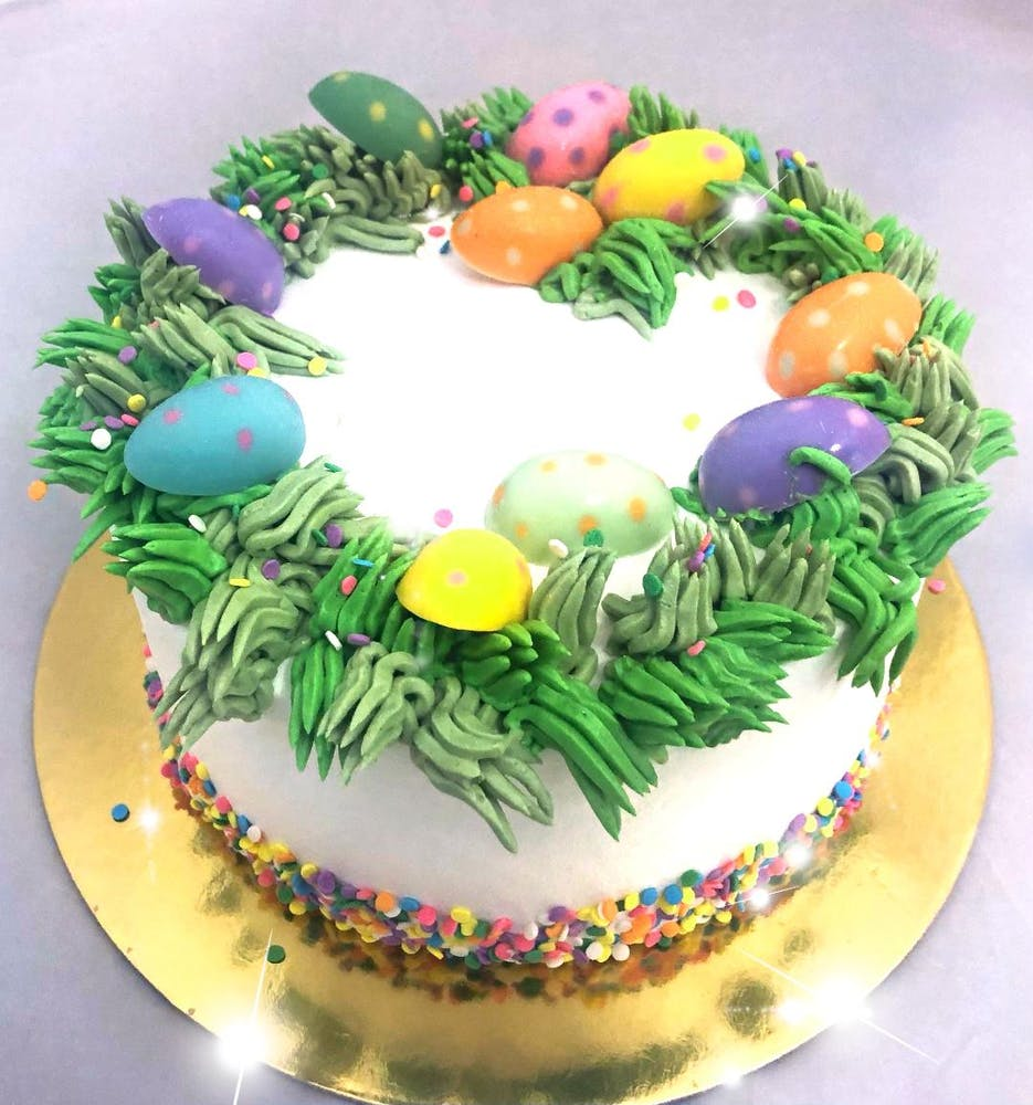 a decorated cake on a plate