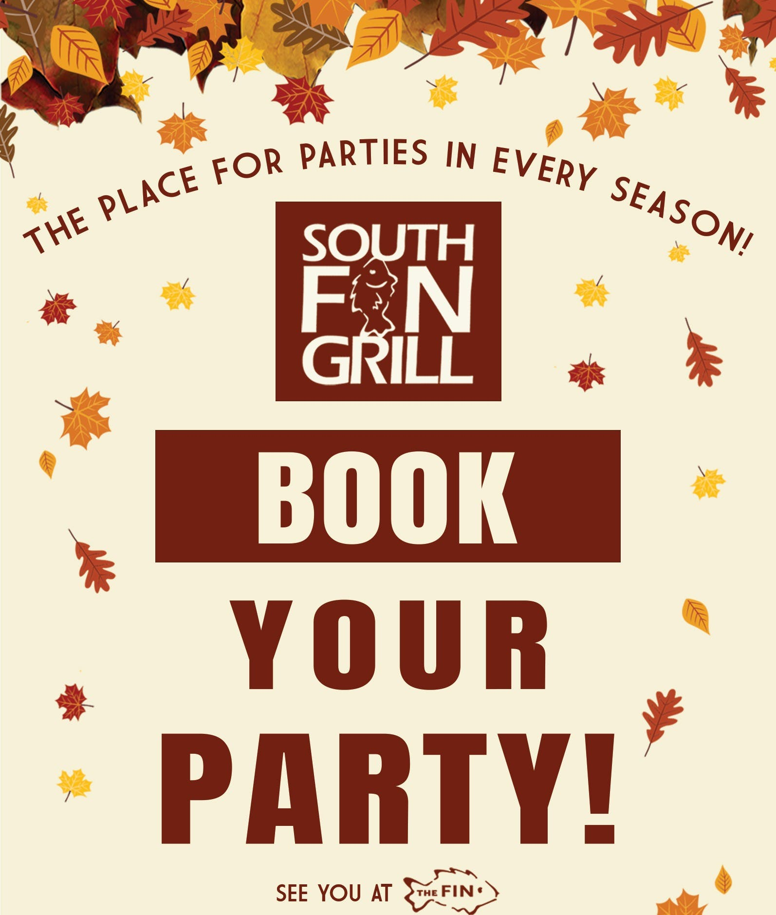 book your party wording flyer